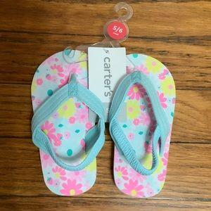 Carters flower print sling back flip flops sz 5/6